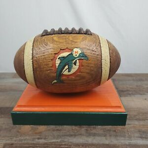 Vintage Hand Carved Wood Miami Dolphins NFL Football On Base Antique