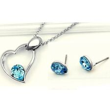 Parure acier argenté, cristal bleu turquoise, goutte coeur bijoux fantaisie neuf