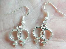 GAY Earrings Female Gender Symbol Lesbian LGBT Pride Charms Silver Ear Wires NEW