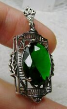 Oval Sim Emerald Deco Sterling Silver Filigree Necklace Pendant (Made to Order)