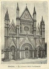 Stampa antica ORVIETO veduta Cattedrale Terni Umbria 1891 Old antique print