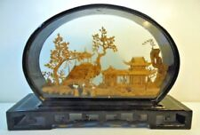 Vintage Asian Art Diorama Shadow Box Carved Cork Lacquer Wood Case