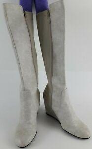 Charming Charlie's Cream Priscilla Vegan Wedge Boots Size 9M