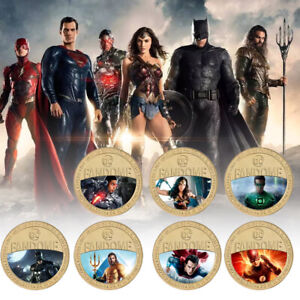 7pcs Superhero Gold Plated Coins Disney Commemorative Coin for Birthday Gifts