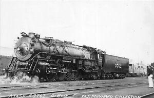 H56/ Kelso Washington RPPC Postcard c1950s AT&SF Railroad Loco #3762
