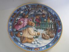 Franklin Mint Royal Doulton Teddy Bear Snowball Fight Bone China Plate