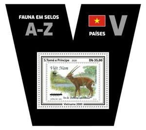 Sao Tome & Principe Stamps-on-Stamps 2020 MNH Fauna Vietnam Saolo WWF SOS 1v S/S