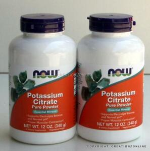 2 Bottles  Potassium Citrate Pure Powder NOW FOODS Total  680 gms Electrolyte
