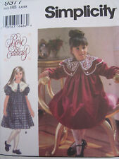 Simplicity 9377 Dress Lace Collar Party Collar Formal PATTERN Sizes 5-6X UNCUT