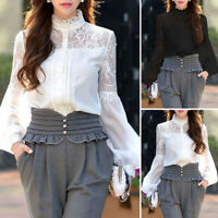 UK Women High Neck Long Sleeve Tops Vintage Ladies Lace Splicing Shirt Blouse