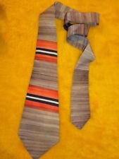 Vintage Antique 1940s * Mens Tie ~ Handpainted Hand Painted ~ Orange Tan Stripe