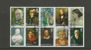 GB 2006 150th Anniversary of National Portrait Gallery Block of 10 Used SG 2640a