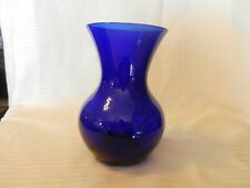 "Cobalt Blue Glass Flower Vase Bulb Shaped 7"" Tall, 4"" Opening"