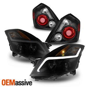 For 07-09 Nissan Altima Sedan LED Projector Black Smoke Headlights + Tail Lamps