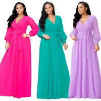 Women Stylish Long Sleeves V Neck Casual Belted Maxi Chiffon Dress Evening Party
