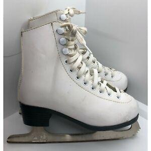 American Athletic Shoe Ware White Figure Skates Ice Skates 13Y