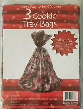 CHRISTMAS PRESENTS 3-PACK COOKIE TRAY BAGS WRAPPING GIFTS BASKETS FLOWERS