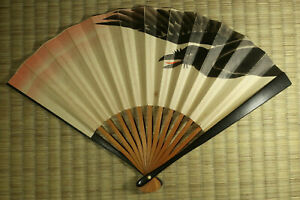 Sensu / Folding Fan / Crow Design / Japanese / Vintage