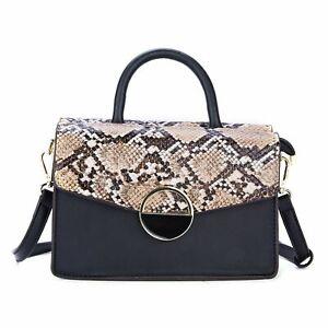 Women Snake Print Small Clutch Handbag Ladies Evening Party Office Bag Black