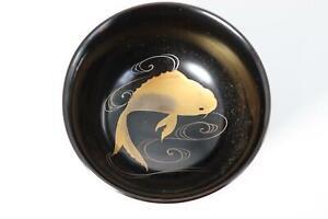 Japanese Antique wooden makie carp bowl KG29