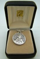 Mens Fine Brushed Silver 7/8 Scapular Sacred Heart Lady of Mt Carmel Medal w Box