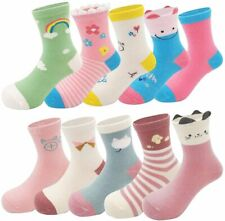 Toddler Kids Little Girls Cute Cotton Crew Socks 10 Pack, Rainbow, Size 7.0 XLLf
