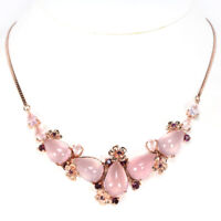 66CT. NATURAL AAA ROSE QUARTZ & RHODOLITE GARNET STERLING 925 SILVER NECKLACE 18