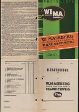 BRAUNSCHWEIG, Preisliste 1936, W. Maseberg Konserven-Fabrik WEMA