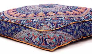 "Large Indian Meditation Floor Pillow Cover 35"" X Inch Elephant Mandala Cushion"