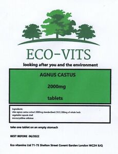 AGNUS CASTUS 2000mg 30 tabs PRE MENTRUAL MENOPAUSE NATURAL HRT