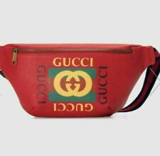 Gucci Print Leather Belt Bag- Red