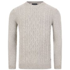 Barbour Chunky Cable Sweater in Fog - MKN1254