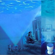 LED Night Light Romantic  Blue Ocean Waves Projector Relaxing Lamp w Speaker US