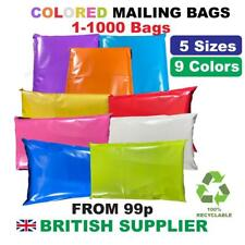 More details for coloured mailing postal bags plastic post mail postage poly mixed 100 500 1000