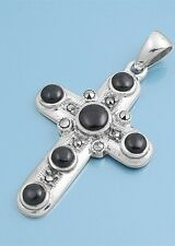 Silver Pendant with Marcasite Cross Black Onyx Pendant Height 38 mm Black Onyx