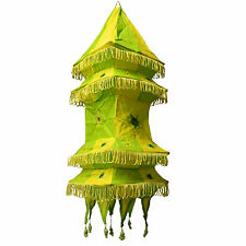 Abat-jour pagode carré vert jaune 70 cmhängeleuchte patchwork éclairage
