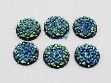 100 Deep Blue Flatback Resin Round Cabochon Gems Pyramid Dotted Rhinestone 12mm