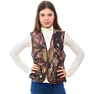 Kids Mossy Oak Hunting Utility Cargo Travel Vest with Pockets Photographers Fish