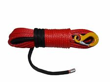 Red 3/8inch*100ft Synthetic Winch Rope,Plasma Winch Cable with Hook and Thimble