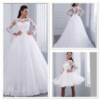 UK Plus Size Detachable White/ivory Long Sleeve Lace Wedding Dresses Size 6-22