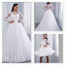 UK Plus Size 2 In 1 White/ivory Long Sleeve Lace Wedding Dress Size 6-22