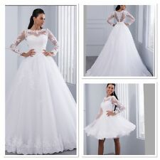 UK 2 in 1 ivory Long Sleeve Beadee Lace Detachable Skirt Wedding Dresses Size 12
