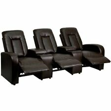 Flash Furniture Brown Leather 3-Seat Home Theater Recliner with Storage Consoles