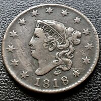 1818 Large Cent Coronet Head One Cent 1c Higher Grade #20092