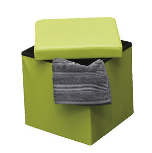2 in 1 Foldable Pouffe and Storage Box - LEATHER look Cube Faux Leather Folding