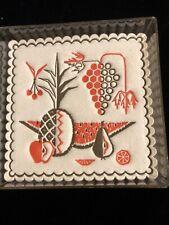 Vintage Mid Century Flocked Coasters Pineapple Tiki