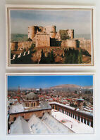 2 x Syria SYRIEN Damascus & Kreuzritter-Burg Postkarten Postcards Lot frankiert