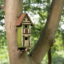 Glitzhome Handmade Wood Hanging Two-Tier Birdhouse Bird Feeder Nest Garden Decor