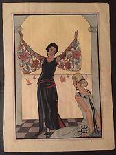 Pochoir Prints hand colored interior illustrations french fashion 1920s plates