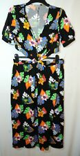 BLACK BLUE FLORAL LADIES CASUAL STRETCHY DRESS CROP TOP ASOS SIZE 16 TALL V-NECK